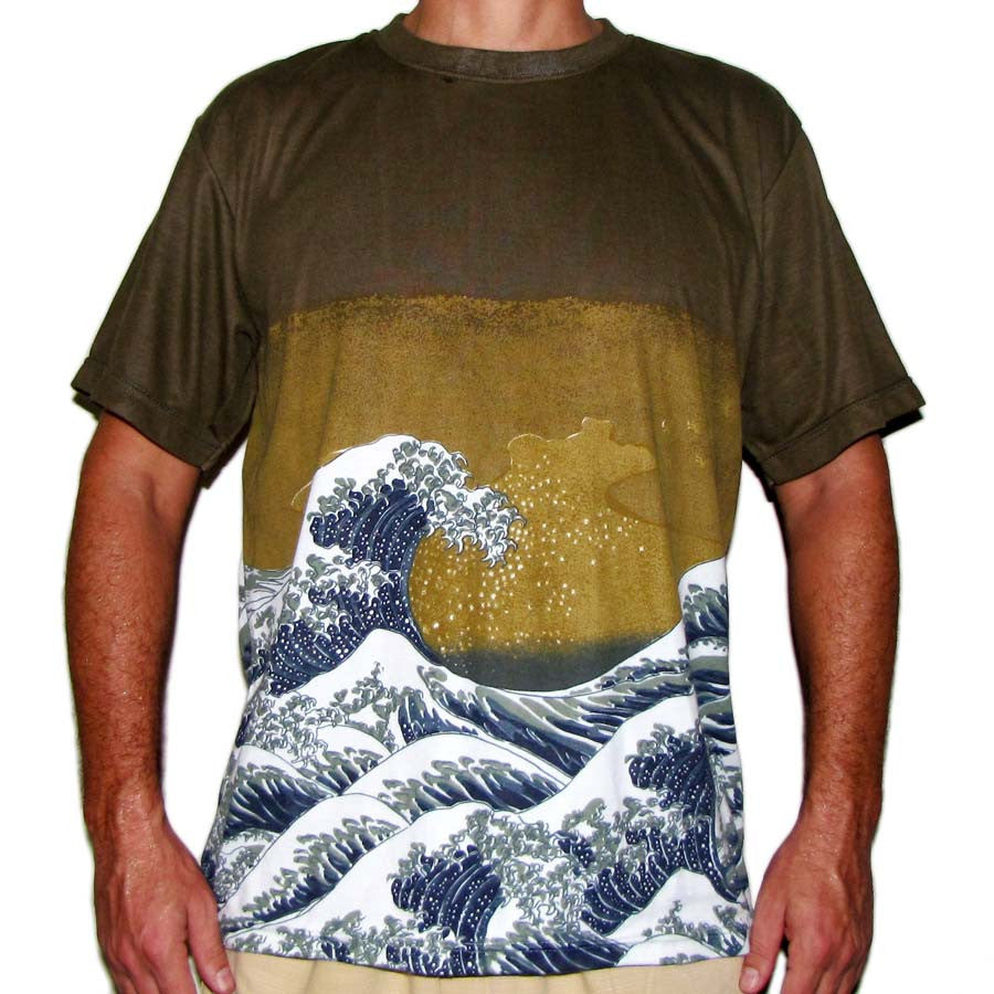 Hokusai GIANT WAVE Japan UKIYOE Art Print Short Sleeve T Shirt Mens M L XL