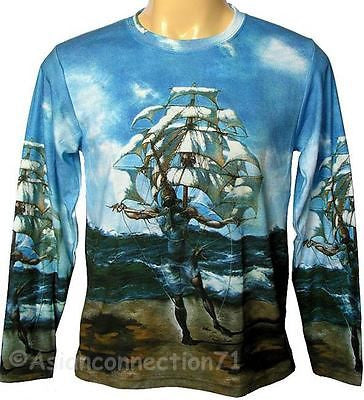 THE SHIP Salvador DALI Long Sleeve Fine Art Print PN T Shirt Mens XL New