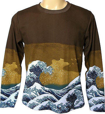 GIANT WAVE Hokusai UKIYOE Japan Art Print LONG SLEEVE T Shirt Men's M L XL