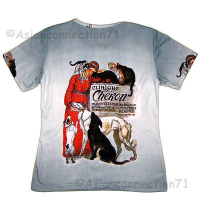 CLINIQUE CHERON New STEINLEN Fine Art Print T Shirt Misses Short Sleeve S M L XL