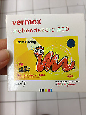 VERMOX Worm Parasite Killer Mebendazole 500 mg JANSSEN - 4 X Fruity Chewable Tab - HappyGreenStore