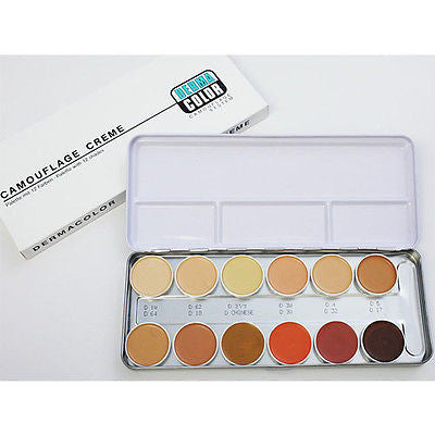 GENUINE KRYOLAN DERMA COLOR CAMOUFLAGE CREME IN 12/24 COLORS PALETTES - HappyGreenStore