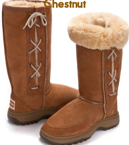 Hiking Tall Lace Up UggBoots UGG Boots -35 cm Outdoor boot 100% Aussie Sheepskin - HappyGreenStore
