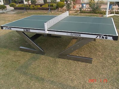 Stag Ultimate Outdoor 18mm Compreg TOP Table Tennis table +bats balls Ping Pong - HappyGreenStore