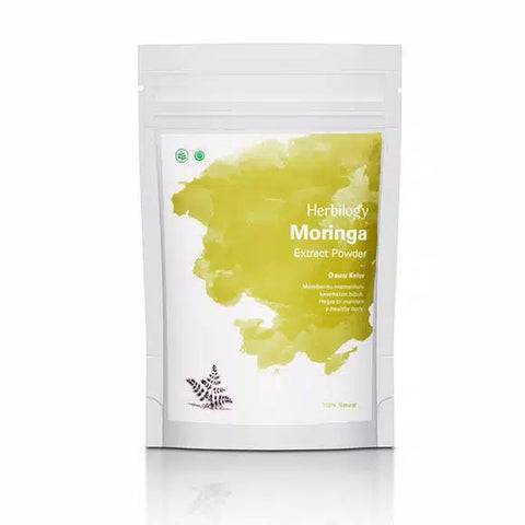 Herbal 100% Natural Nature Herbilogy Herbilogy Moringa (Daun Kelor) Extract Powder 100g Original No Soya - HappyGreenStore