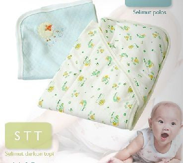 Fluffy Baby Swaddle Blanket Quilt Newborn Wrap with Head Cover Cap - Cute design - HappyGreenStore
