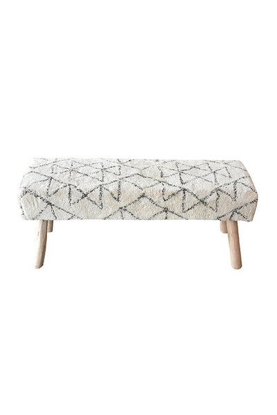 agostin cotton bench in charcoal and ivory color