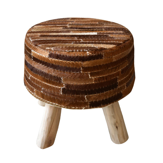tiago hide stool in dark brown color