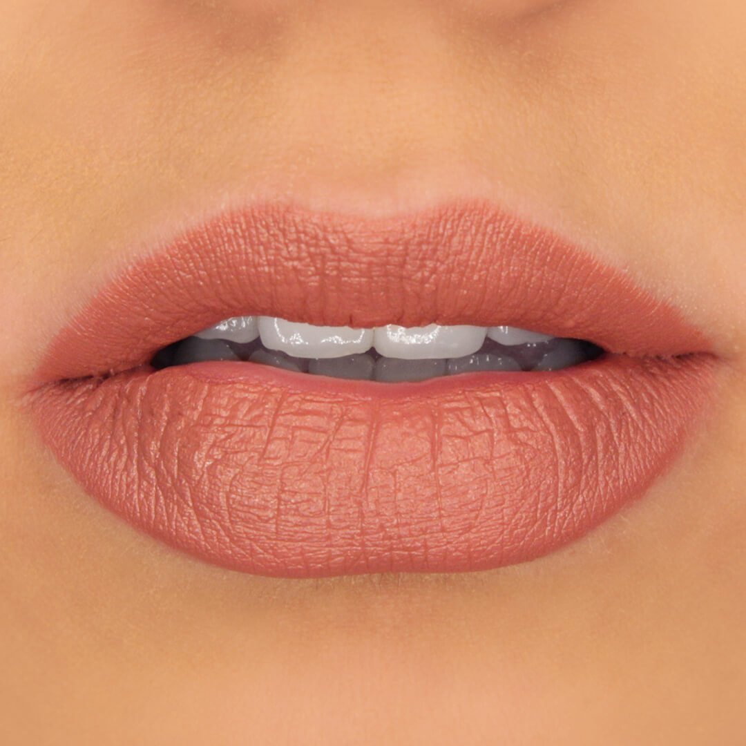100% PURE Cocoa Butter Matte Lipstick: Sahara Applied on Lips