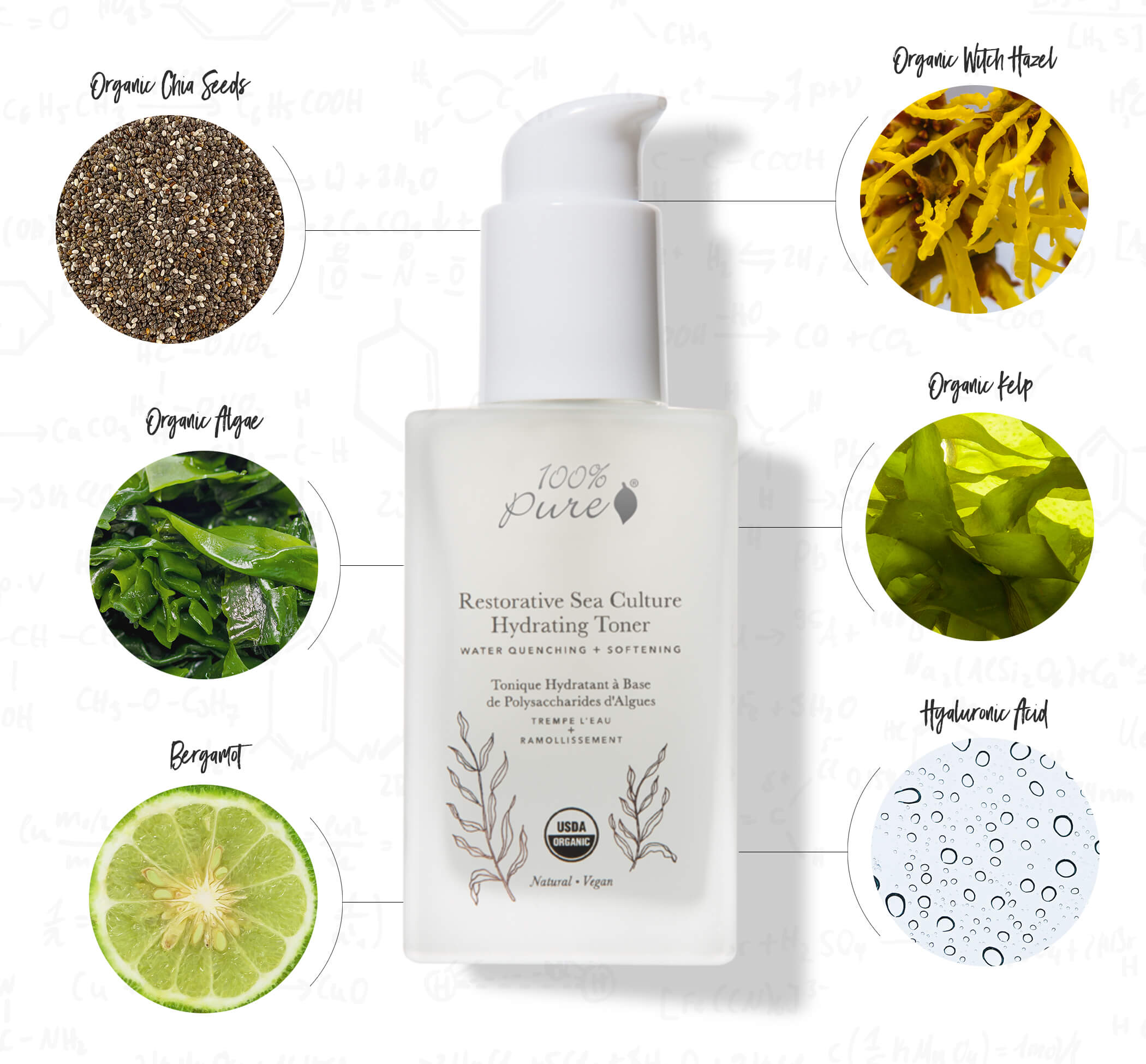 100% PURE Restorative Sea Culture Hydraying Toner Ingredients Chart