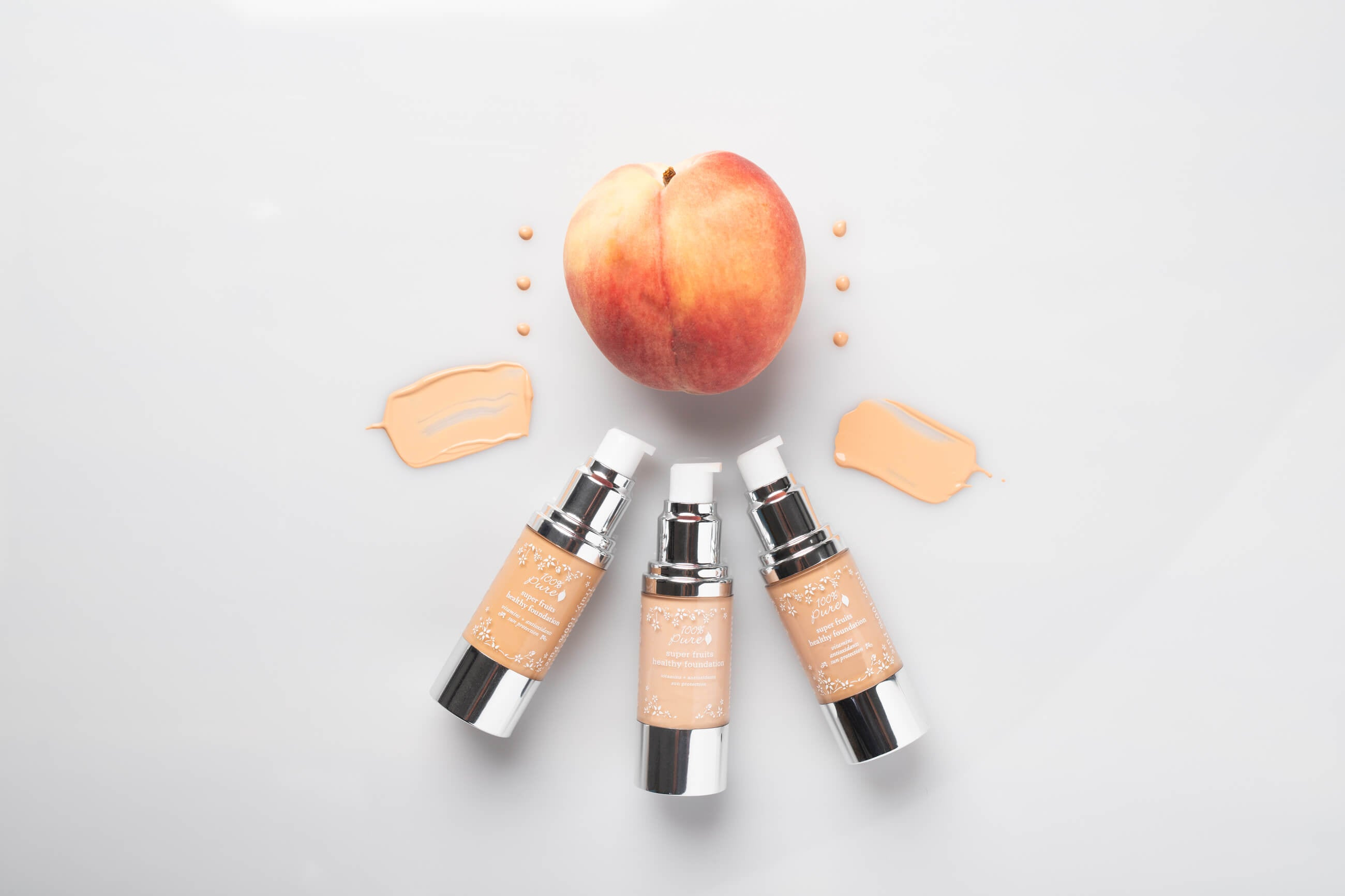 100% Pure Healthy Foundations with Peaches and swatches