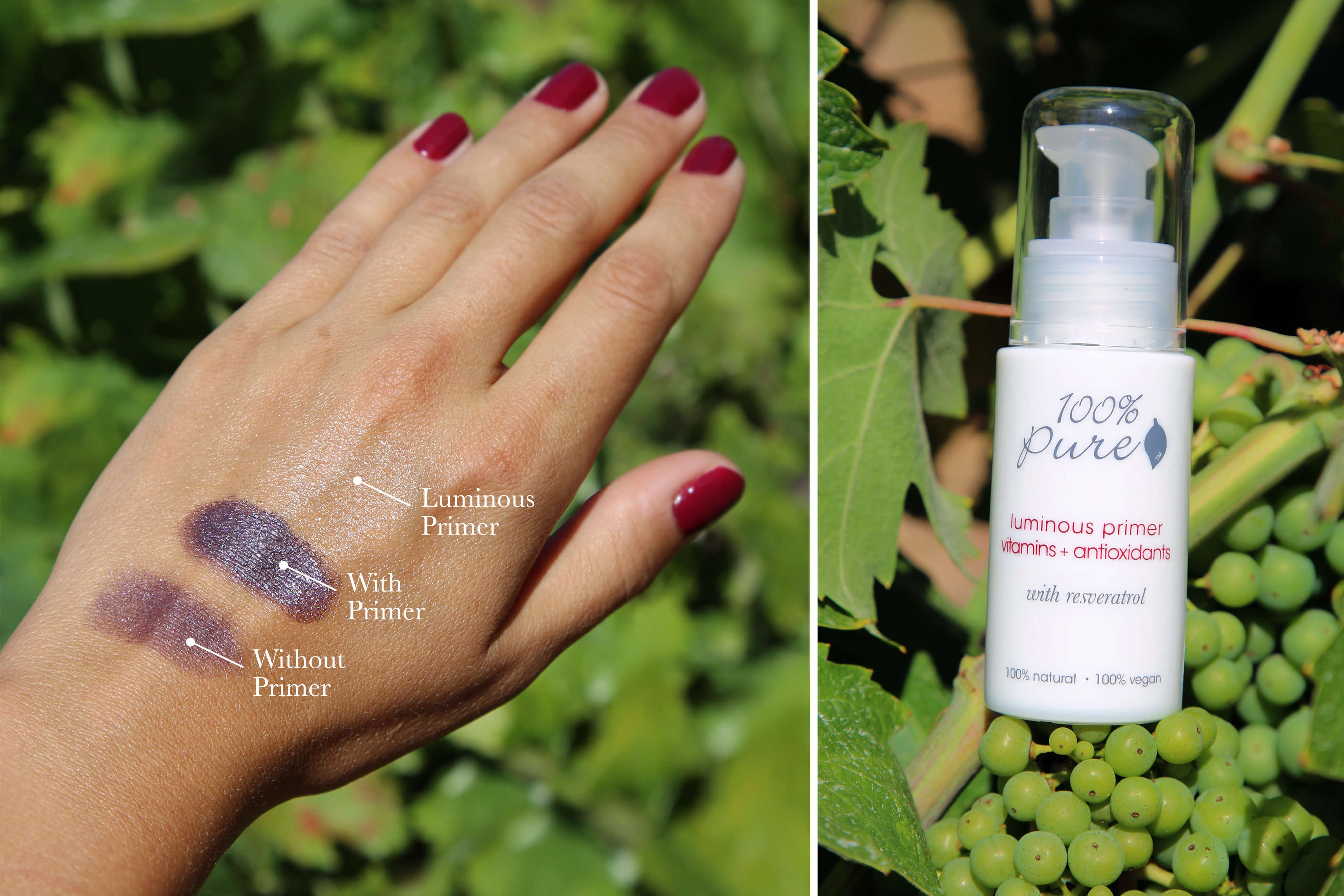 100% Pure Primer hand swatch