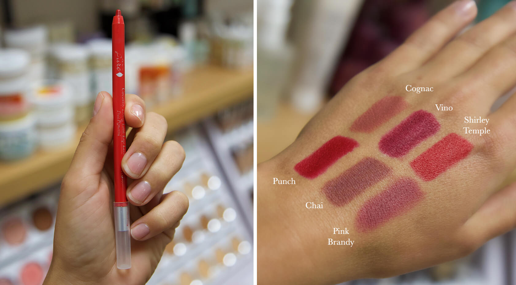 100% PURE Lip Liner hand swatch