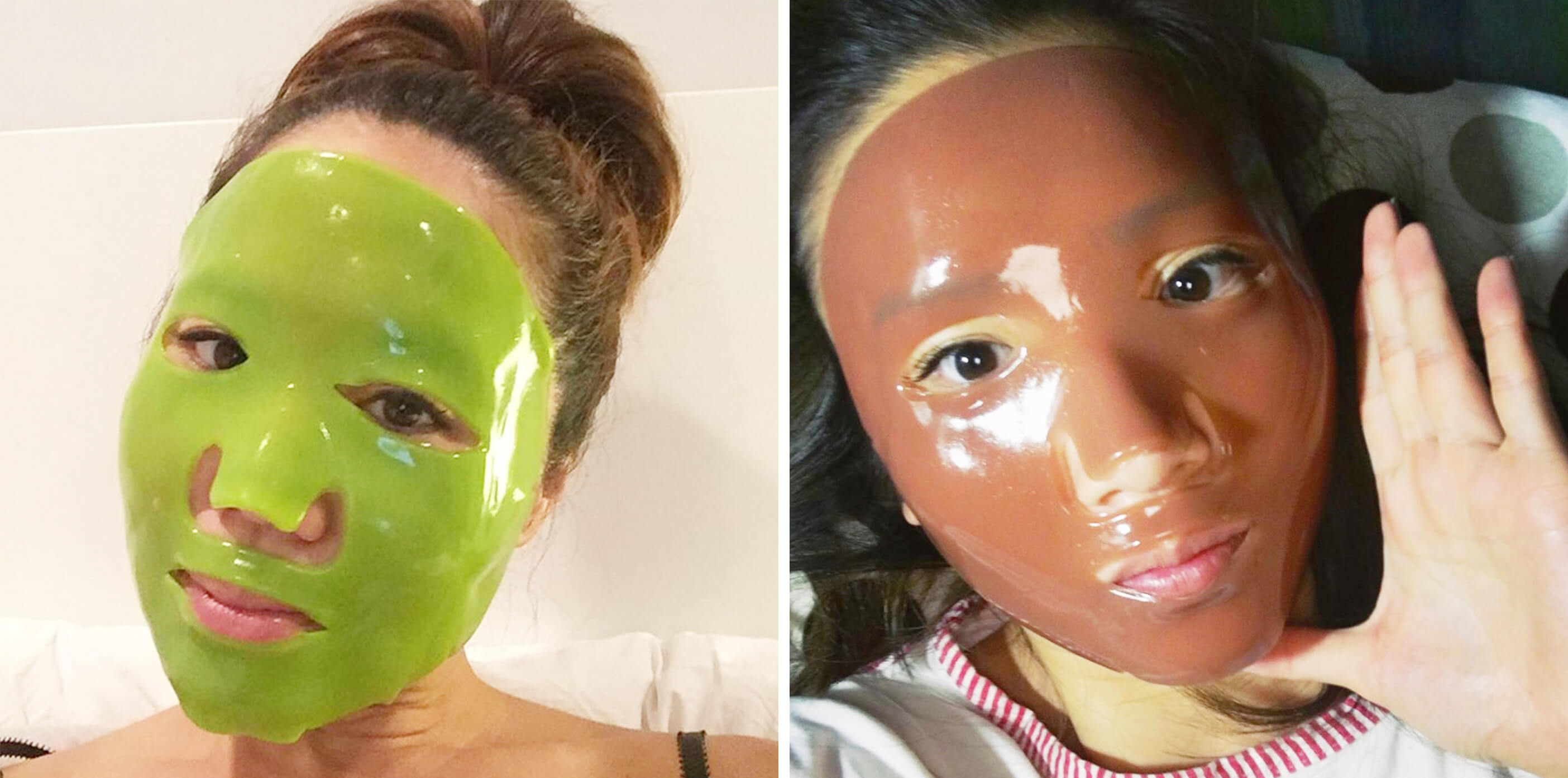 customers wearing 100% Pure hydrogel masks