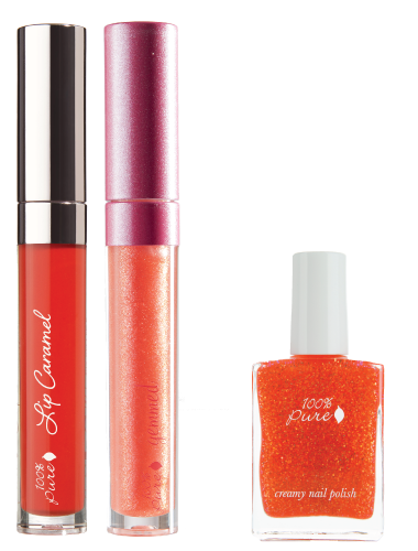 Gemmed Lip Gloss and Caramel with nail polish left image