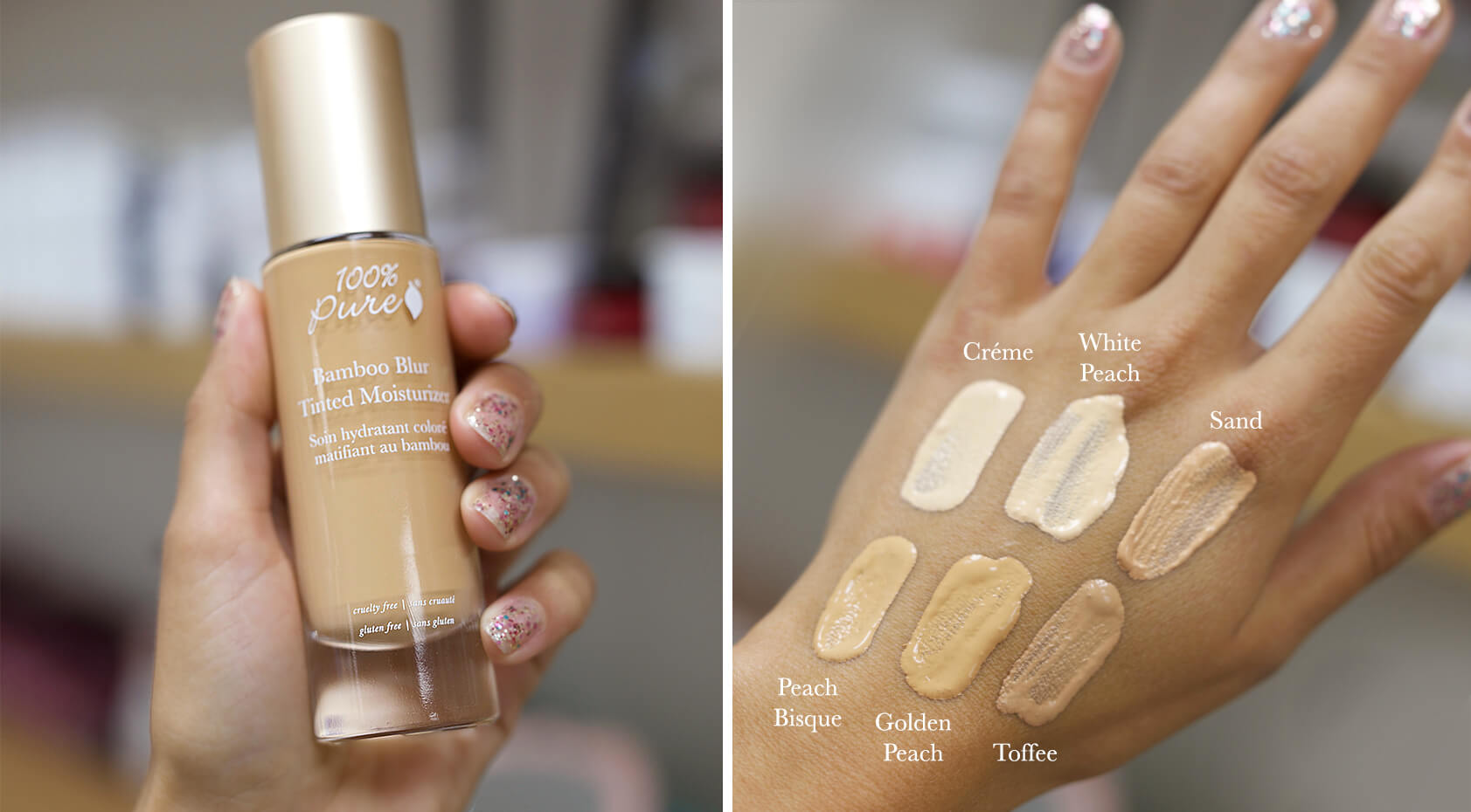 100% PURE Bamboo Blur Tinted Moisturizer hand swatch