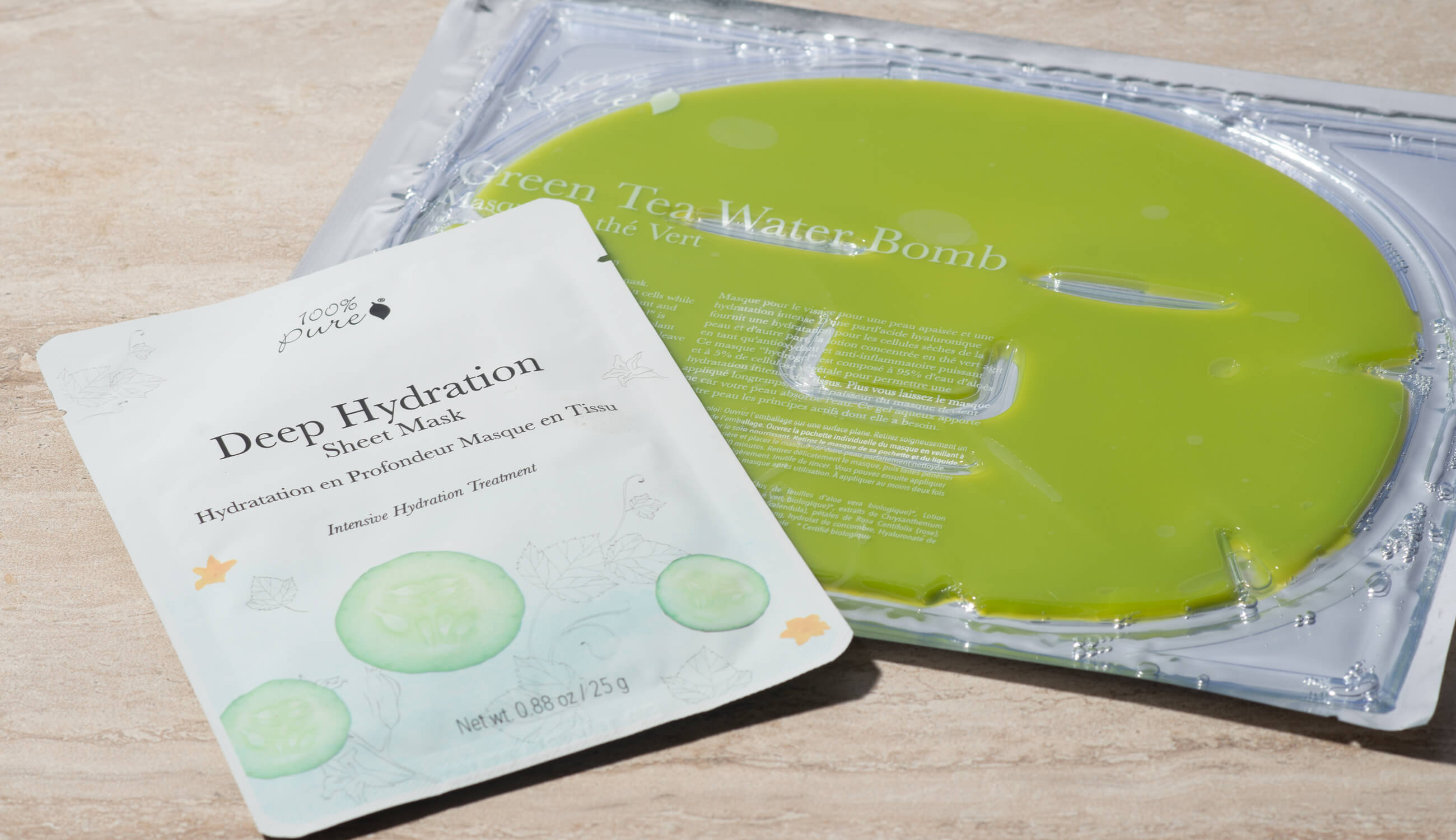 Green Tea Water Bomb and Deep Hydration Sheet Mask