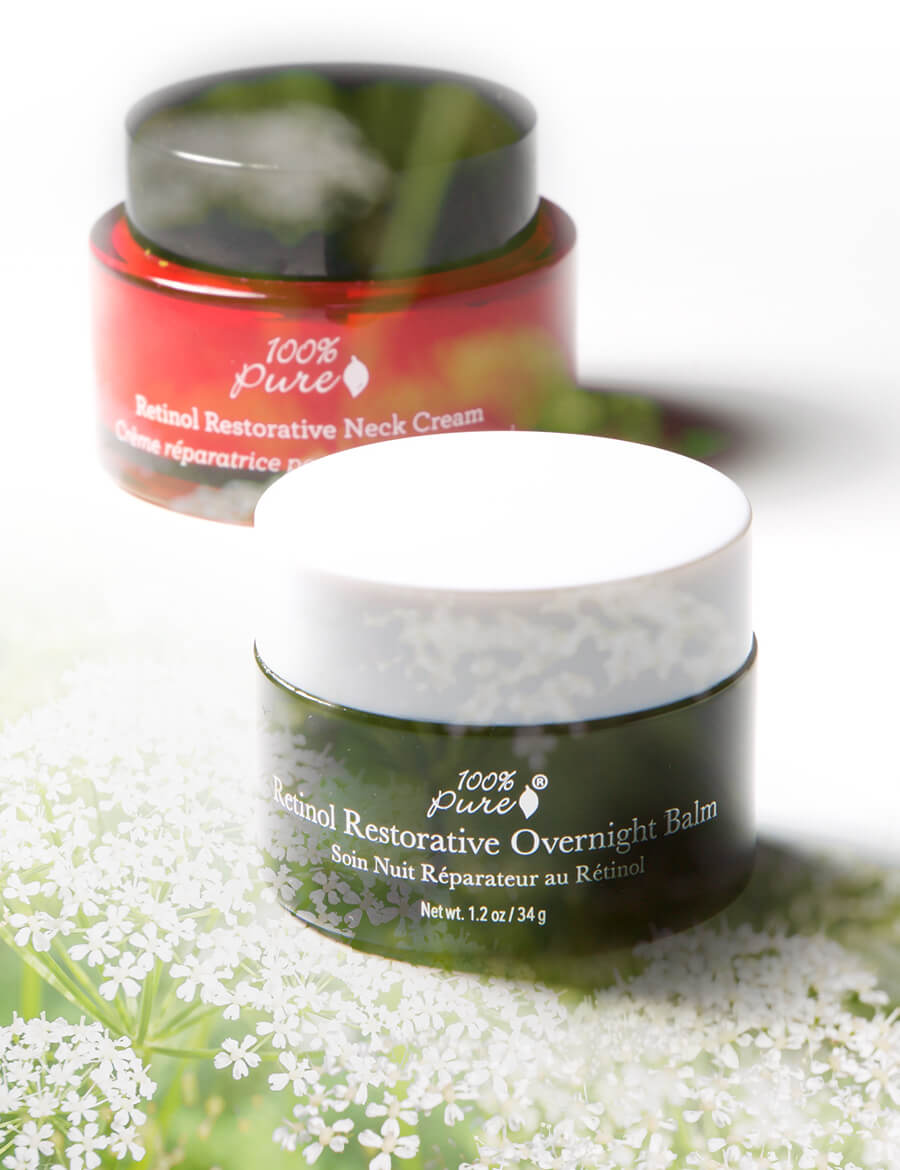 100% Pure Retinol Restorative Neck Cream and 100% Pure Restorative Overnight Balm
