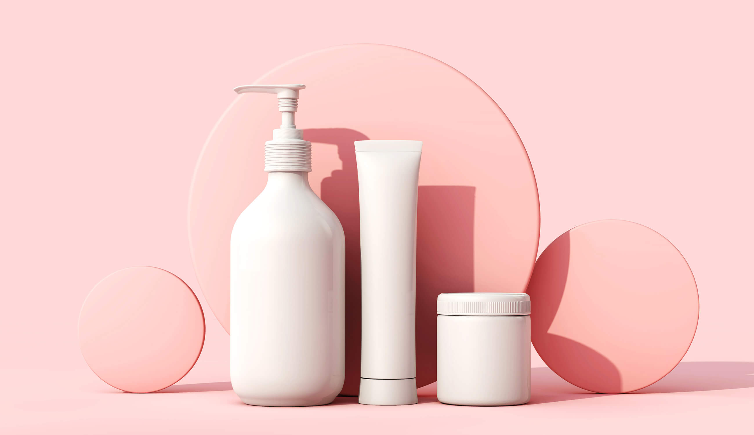 White cosmetic skincare makeup containers