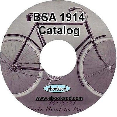 Birmingham Small Arms Co BSA 1914 Bicycle Catalog on CD
