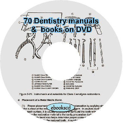 70 Dentistry Manuals and Books Dental Dentistry and Care of Teeth on DVD disk
