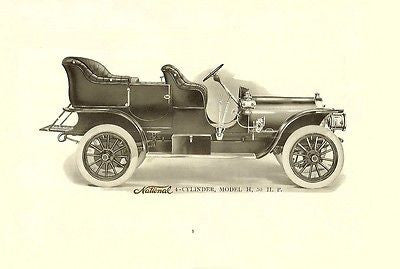 NATIONAL Motor Co. 1907 car automobile catalog on CD