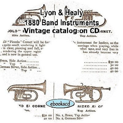 LYON & HEALY 1880 band instruments, uniforms, trimmings vintage catalog on CD