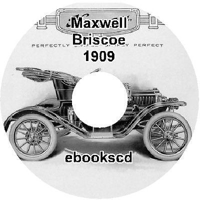 MAXWELL BRISCOE MOTOR CO 1909 vintage car catalog on CD