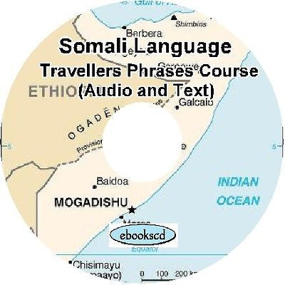 SOMALI language Travellers Phrases Language Course Audio & Ebook on DVD