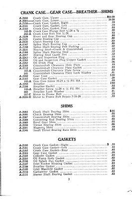 ACE Four cylinder vintage motorcycle parts list 1920-22