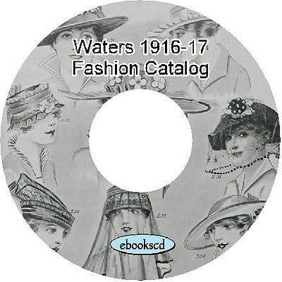 Waters 1916-17 Australian Fashion Catalog on CD hats millinery dress shoes 68pg