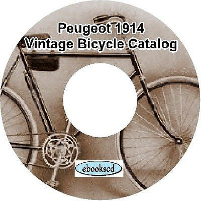PEUGEOT 1914 vintage bicycle, tricycle & motorcycle catalog on CD (French)