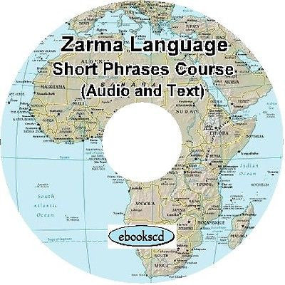 ZARMA language Short Phrases course Audio & Text on DVD