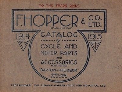 F HOPPER 1914-1915 catalog of bicycle & motorcycle motor cycle parts supplies CD