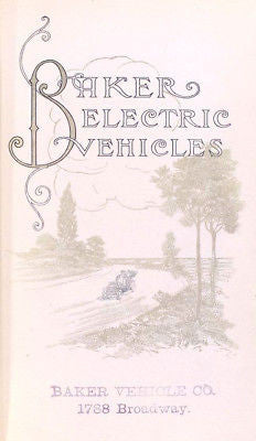 BAKER ELECTRIC COMPANY 1909 vintage car catalog on CD