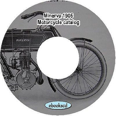 Minerva 1906 vintage motorcycle motor cycle catalog on CD