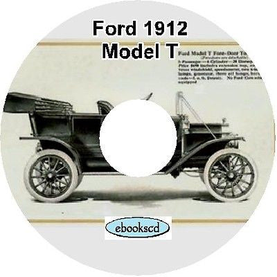 FORD 1912 FORD MODEL T car automobile catalog on CD