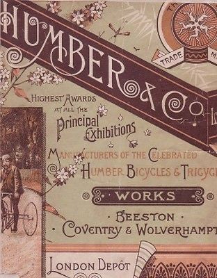 HUMBER 1889 vintage bicycle & tricycle catalog on CD