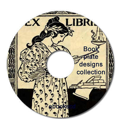 Book plate designs book collection ex libris engravings etchings 37 books on CD