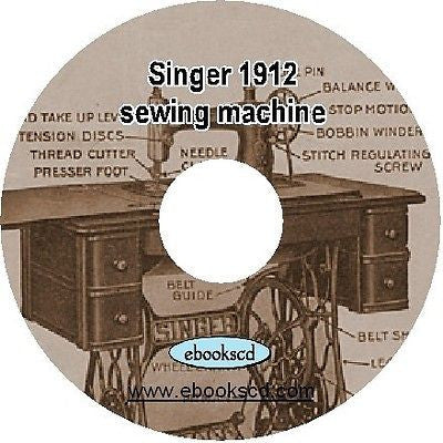 1912 SINGER sewing machine no. 127-3 instruction guide manual book on CD
