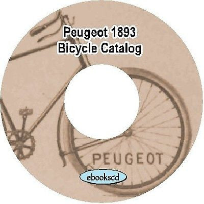 PEUGEOT 1893 bicycle & tricycle & supplies parts accessories catalog CD (French)