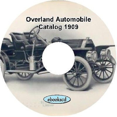 OVERLAND AUTOMOBILE CO 1909 vintage car catalog on CD