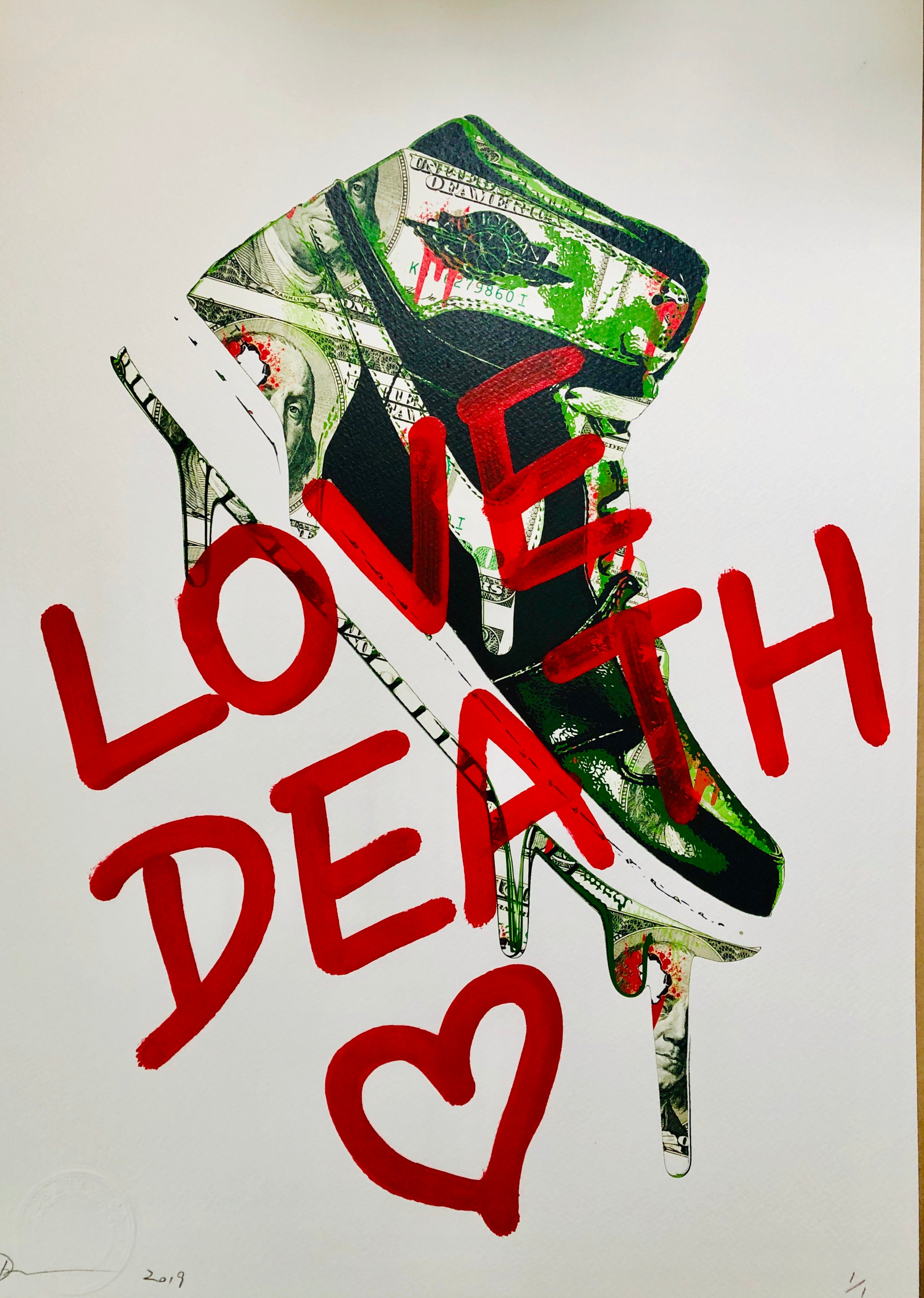 "AJ Money ""LOVE DEATH"" 45x32cm (Edition of 1)"