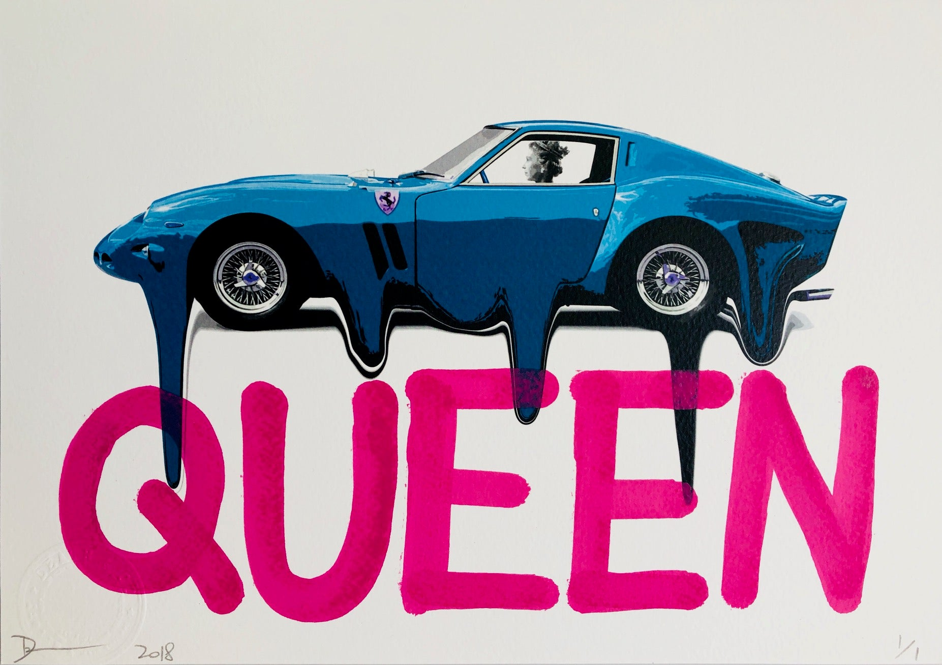 Queen F Car Blue 29x21cm (Edition of 1)