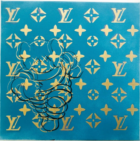 "K LV BLUE GOLD Original Canvas (12"" x 12"")"