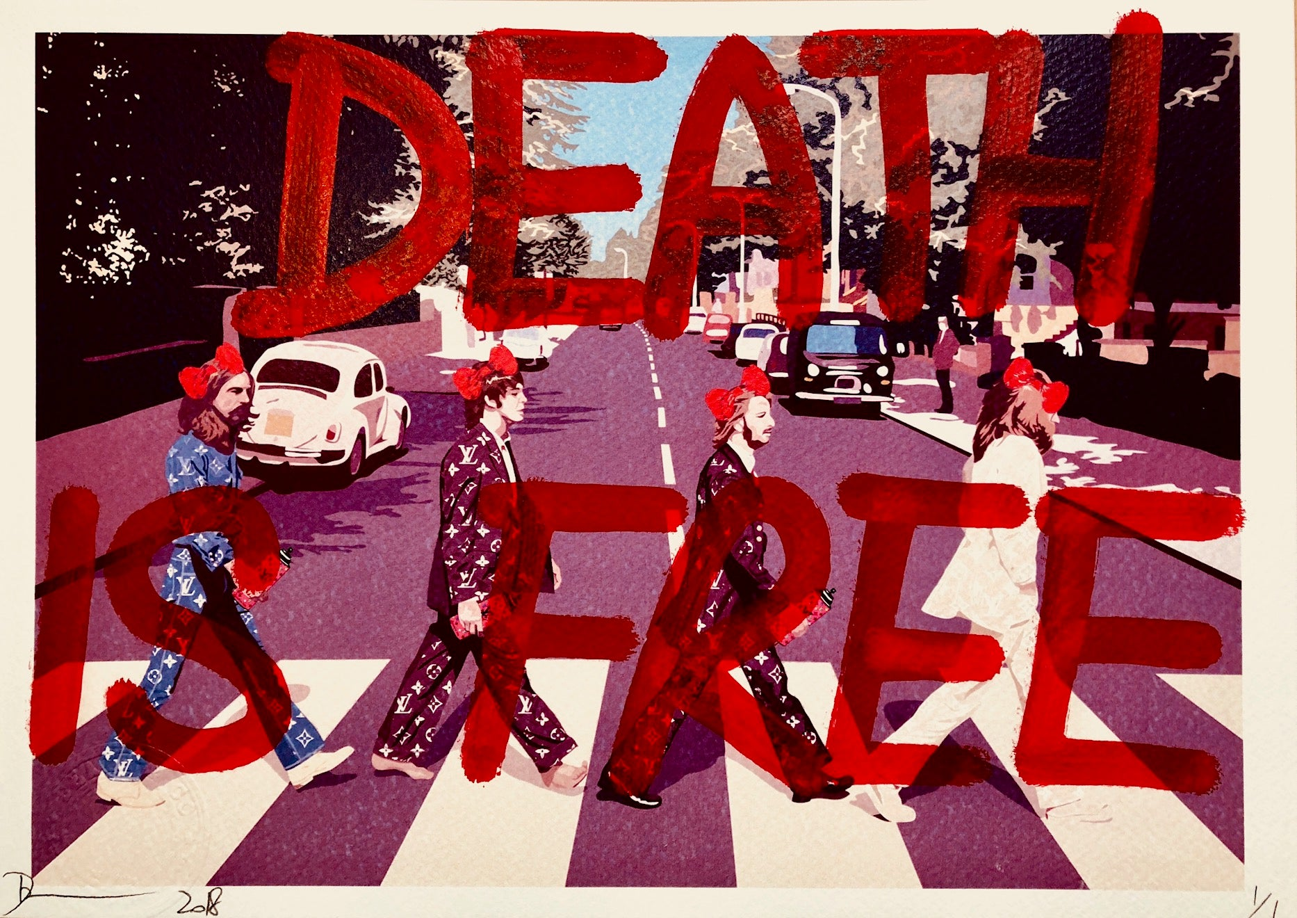 Beatles DEATH IS FREE Red 29x21cm (Edition of 1)