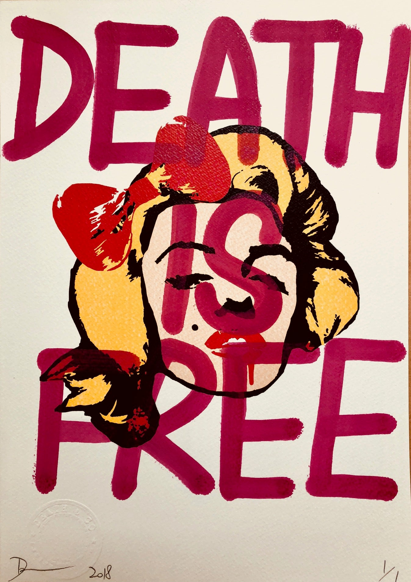 Monroe DEATH IS FREE 29x21cm (Edition of 1)