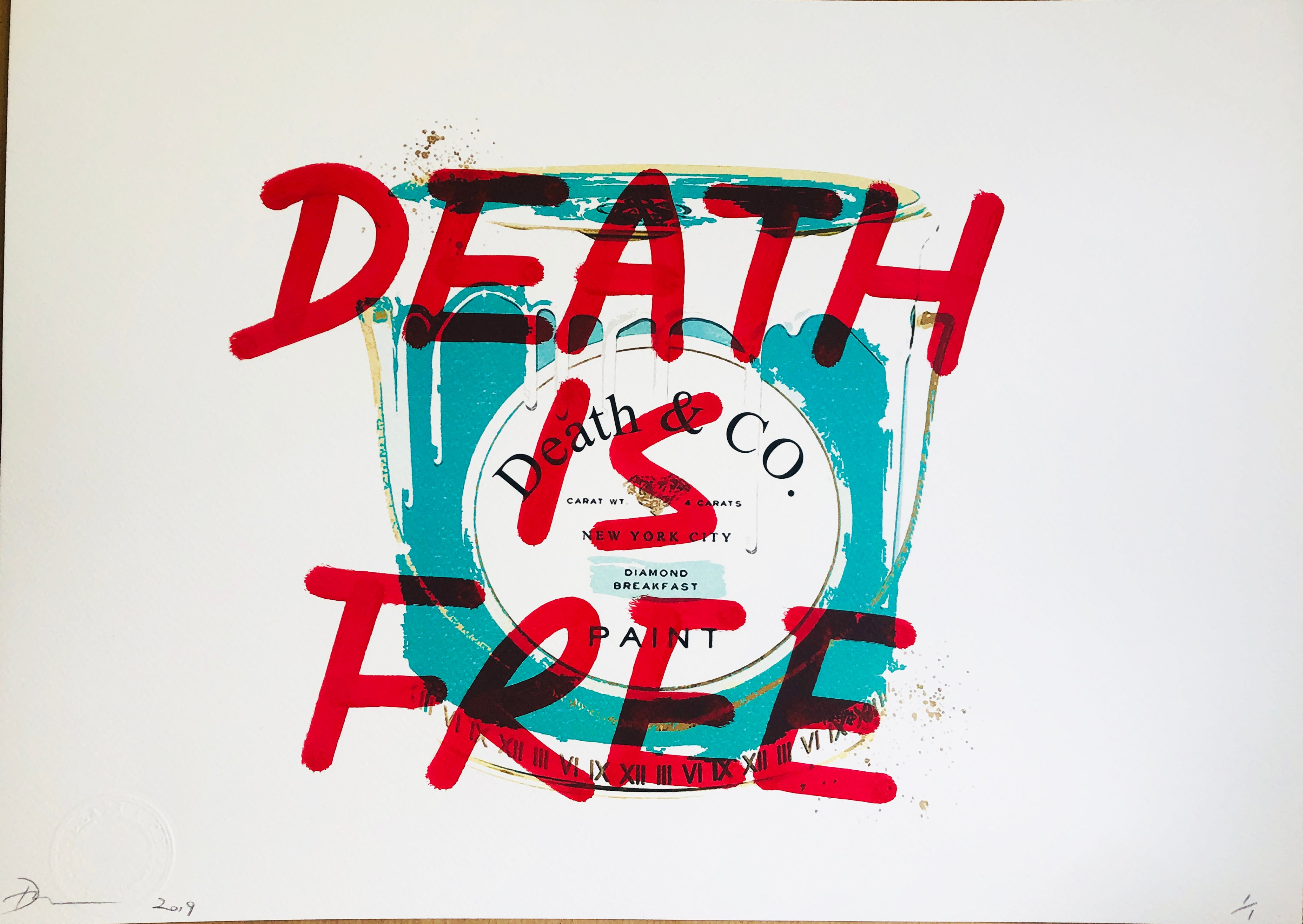 "Tiff Paint ""DEATH IS FREE"" 45x32cm (Edition of 1)"