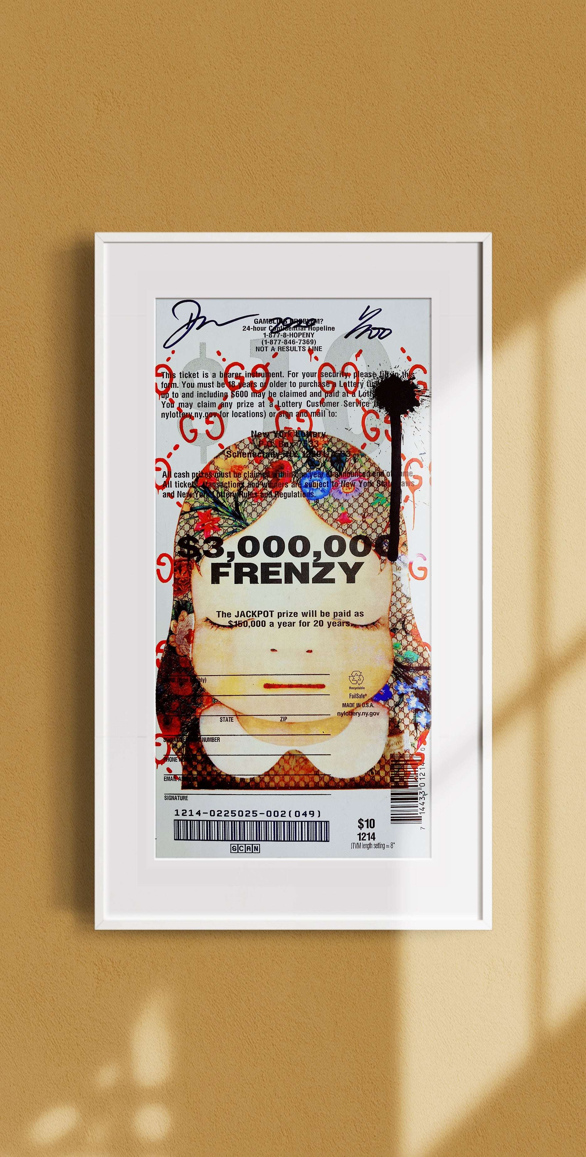 "Mixed Media Lottery Ticket ""GG Drip"" Edition of 100"