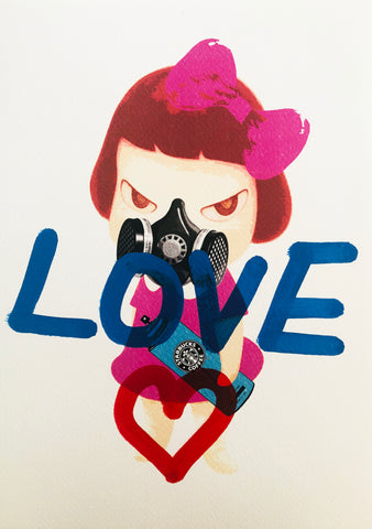 "Pink Nara ""LOVE"" (8"" x 12"") (Edition of 1)"